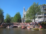 Amsterdam canal waiting for the parade