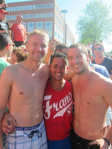 With the straight guys Daan and Michiel, who invited us on their boat.