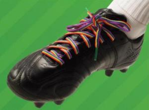 rainbow laces  for RIGHT BEHIND GAY FOOTBALLERS