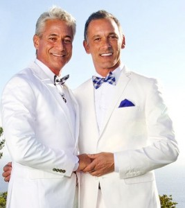 Greg Louganis marries Johnny Chaillot in Malibu.