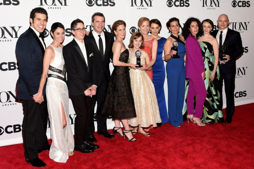 """The cast and creative of """"Fun Home,"""" winners of the award for Best Musical,"""