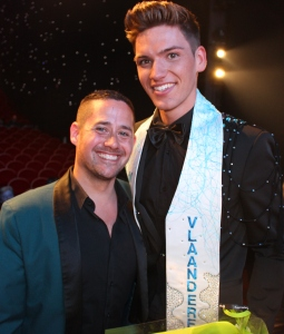 Lesley and the new Mister Gay Flanders 2015 Skelte Willems