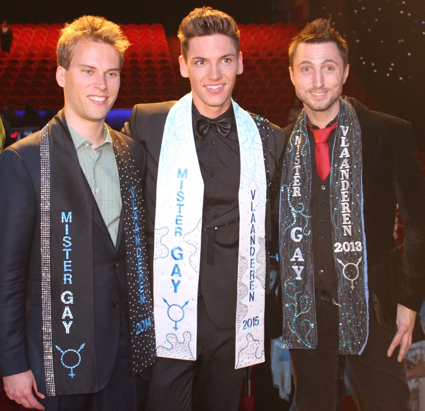 Mister Gay Flanders 2014 Willem Joris, 2015 Skelte Willems and 2013 Tom Goris